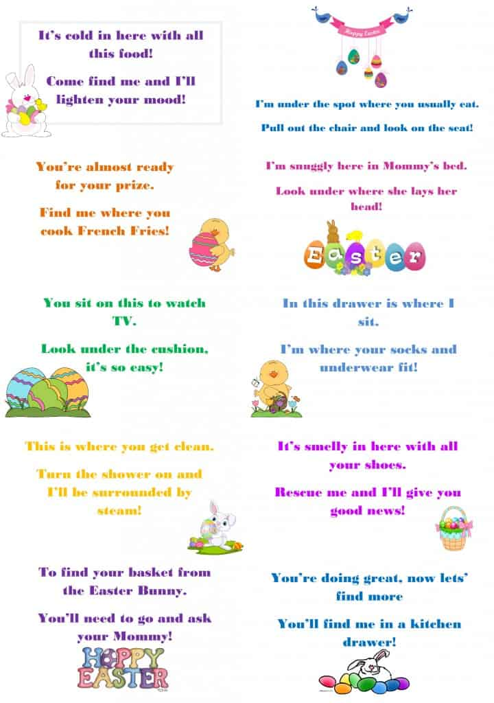 photo relating to Printable Riddles for Kids named Easter Hunt Riddle Cost-free Printable