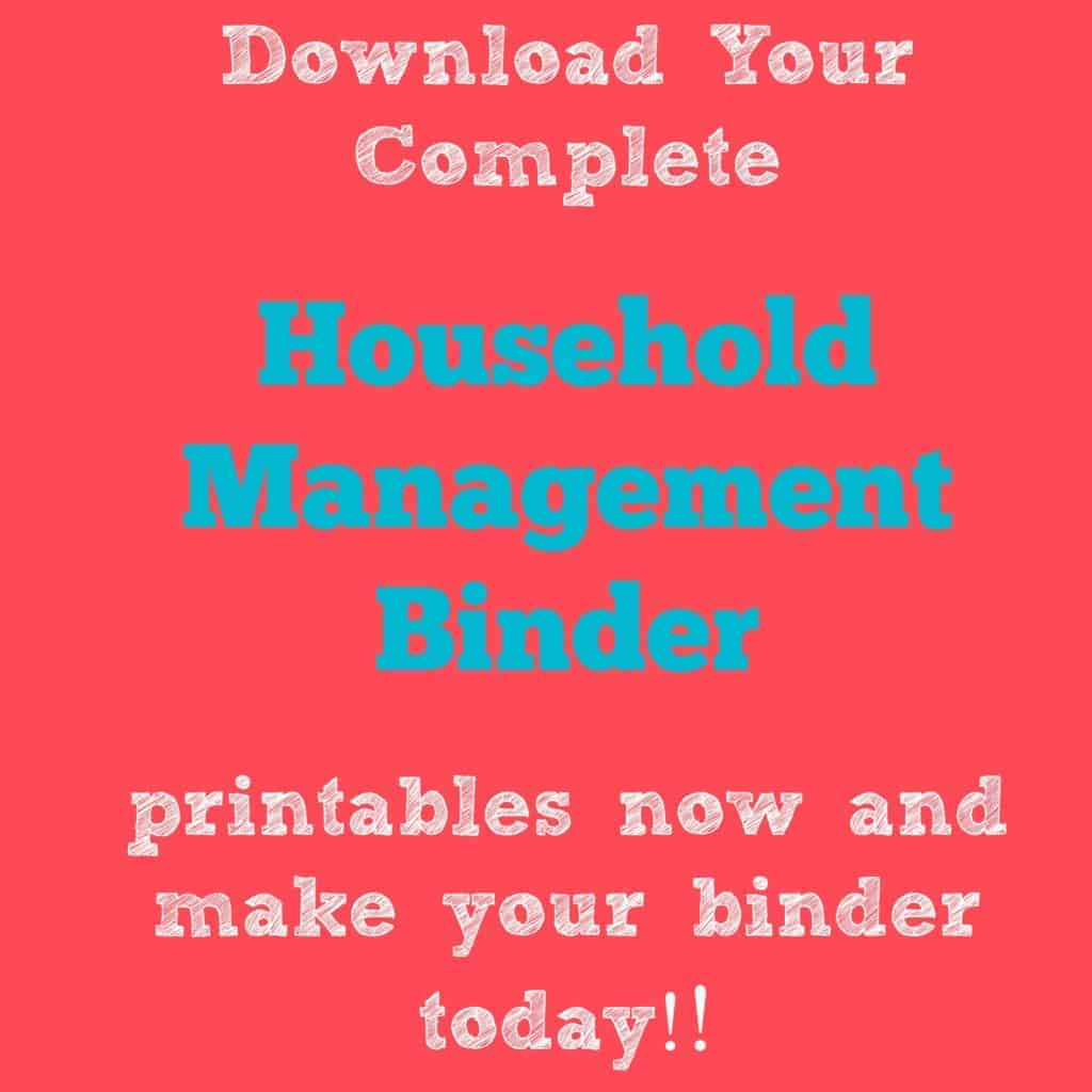 Household management Binder Printable Jpeg