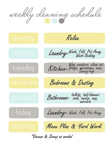 Weekly Cleaning Schedule  ClutterbugMe