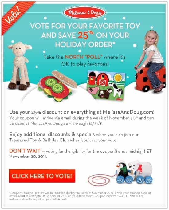 """Get a Melissa & Doug 25% Off Coupon When You Take the North """"Poll"""""""