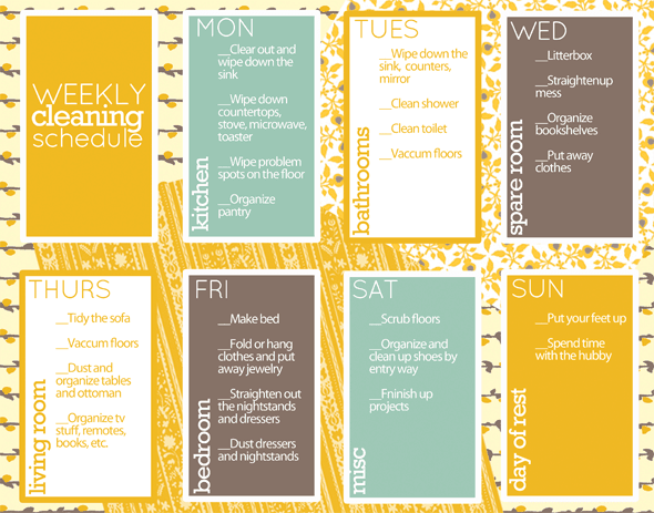 Weekly Cleaning Schedule – Cleaning Schedule