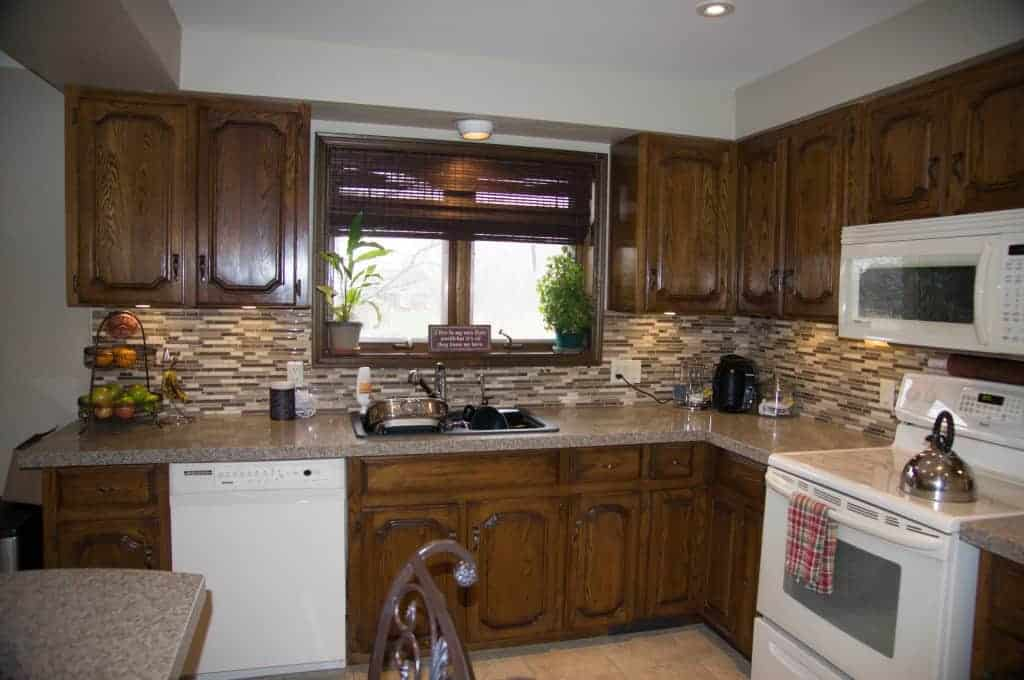 oak-kitchen-cabinets - How To Gel Stain Kitchen Cabinets
