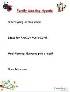 Family Meeting Agenda