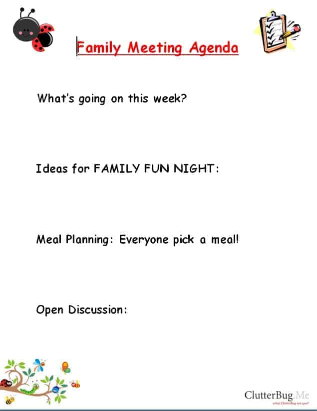 Family meetings are awesome – Family Agenda