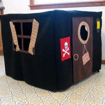 How to Make a Card Table Pirate Ship Fort |