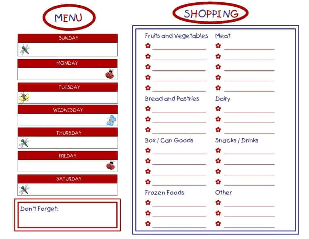 MENU AND GROCERY LIST