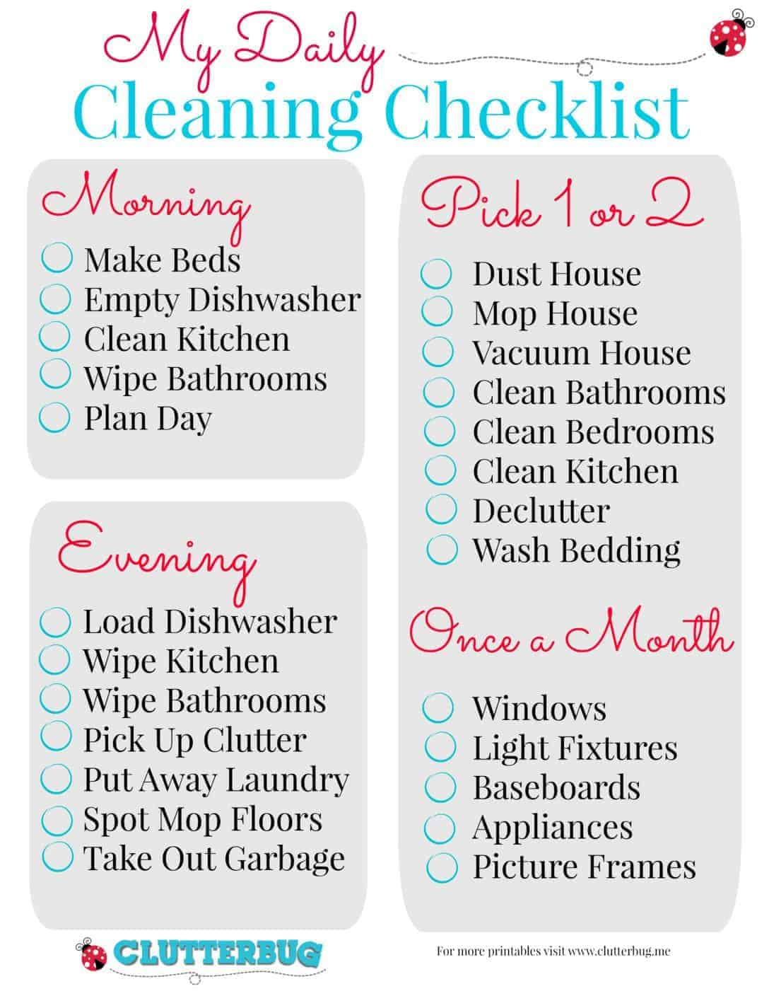 My Daily Cleaning Checklist | ClutterBug.Me
