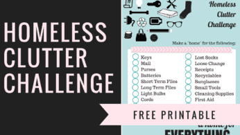 Homeless Clutter Challenge Podcast and Free Printable