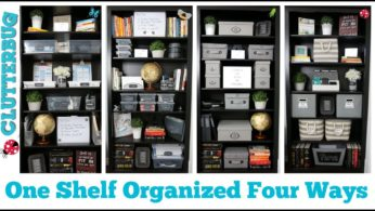 One Shelf Organized Four Ways – Dollar Store Organizing